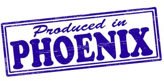 Produced in Phoenix. Stamp with text produced in Phoenix inside,  illustration Stock Photography