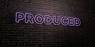 PRODUCED -Realistic Neon Sign on Brick Wall background - 3D rendered royalty free stock image. Can be used for online banner ads and direct mailers Stock Photos