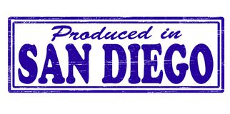 Produced in San Diego. Stamp with text produced in San Diego inside,  illustration Royalty Free Stock Photo
