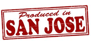 Produced in San Jose. Stamp with text produced in San Jose inside,  illustration Royalty Free Stock Photos