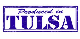 Produced in Tulsa. Stamp with text produced in Tulsa inside,  illustration Royalty Free Stock Images