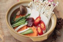 Producendo la minestra coreana del tofu deliziosa Fotografie Stock Libere da Diritti