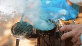 Producent dymny fajczany pipczyka palacza przyrząd dla odpędzać złe pszczoły Zwolnionego tempa wideo pasieka stylu życia beekeepi zbiory