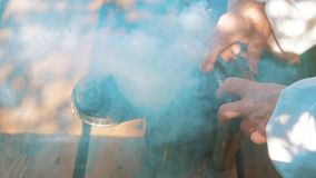 Producent dymny fajczany pipczyka palacza przyrząd dla odpędzać złego pszczoła styl życia Zwolnionego tempa wideo pasieka beekeep zbiory