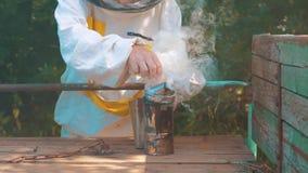 Producent dymny fajczany pipczyka stylu życia palacza przyrząd dla odpędzać złe pszczoły Zwolnionego tempa wideo pasieka beekeepi zdjęcie wideo