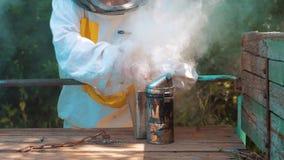 Producent dymny fajczany stylu życia pipczyka palacza przyrząd dla odpędzać złe pszczoły Zwolnionego tempa wideo pasieka beekeepi zdjęcie wideo