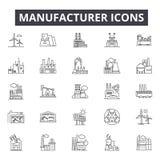 Producentbegreppslinje symboler, tecken, vektoruppsättning, linjärt begrepp, översiktsillustration vektor illustrationer