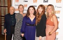 Producenter David Yarnell, Anne Carey, aktris Melissa McCarthy, aktris Marielle Heller och producent Amy Nauiokas TIFF2018 royaltyfria foton