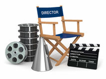 Producer chair, clapperboard and film reelsl. Movie industry. Producer chair, �lapperboard and film reels. 3d Stock Photography