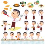 Producer middle men_cooking. Set of various poses of producer middle men_cooking Stock Image