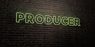 PRODUCER -Realistic Neon Sign on Brick Wall background - 3D rendered royalty free stock image Stock Photo