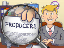 Producers through Magnifying Glass. Doodle Style. Producers. Concept on Paper in Business Man's Hand through Lens. Multicolor Doodle Illustration Stock Photo