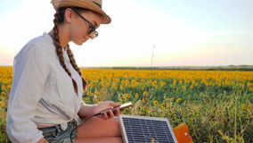 Producing energy, girl communicates in social network using mobile and solar panel on background field. Young woman browsing cellular phone uses solar battery stock video footage