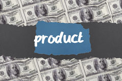 Product against digitally generated sheet of dollar bills Royalty Free Stock Photos