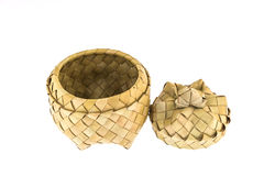 Product of bamboo strips, basket with lid royalty free stock photography