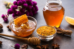 Product of bee- honeycomb, pollen, propolis, honey. Concept Royalty Free Stock Photos