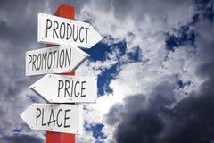Product, bevordering, prijs, plaatsconcept Stock Afbeelding