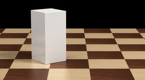 Product box and Chess. Product box on chessboard wood Stock Images