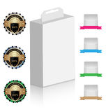 Product box mock-up with design elements. Product box mock-up with a set of creative design elements Royalty Free Stock Photos