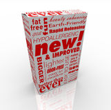 Product Box - New and Improved. A box with many promotional messages on it, such as New and Improved Stock Images