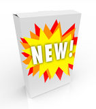 Product Box - New Starburst. A product box with with the word New calling attention to it Royalty Free Stock Images