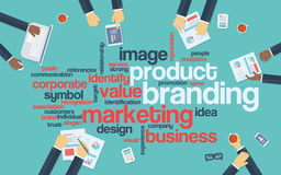 Product branding flat design infographics with Royalty Free Stock Photo