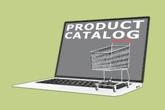 PRODUCT CATALOG concept. 3D illustration of PRODUCT CATALOG script with a supermarket cart placed on the keyboard Royalty Free Stock Photo