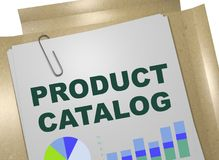 PRODUCT CATALOG concept. 3D illustration of PRODUCT CATALOG title on business document stock illustration