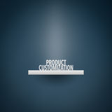 Product customization. Concept. Exposed (displayed, placed) product on shelf. Product represented by text Royalty Free Stock Images