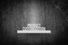 Product customization. Concept. Exposed (displayed, placed) product on shelf. Product represented by text Stock Photography