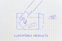 Product customization concept: hand holding piece of puzzle over Royalty Free Stock Photography
