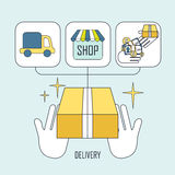 Product delivery concept in thin line style Stock Images