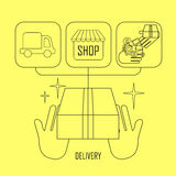 Product delivery concept in thin line style Royalty Free Stock Image