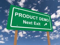 Product demo sign. With directional arrow, blue sky and cloudscape background Royalty Free Stock Photos