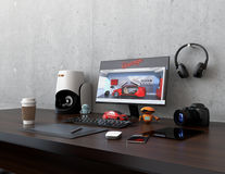 Product designer desktop. With 3D scanner, digital graphic tablet, DSLR camera and bezel-less monitor. 3D rendering image Royalty Free Stock Photography