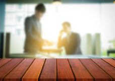 Product display, Empty wooden desk space over blurred office or Stock Images
