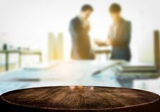 Product display, Empty wooden desk space over blurred office or Royalty Free Stock Photography