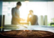 Product display, Empty wooden desk space over blurred office or Royalty Free Stock Image