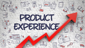 Product Experience Drawn on White Brick Wall. Stock Image