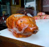 Product in the form of a baked pig in Prague stock image
