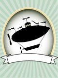 Product label silhouette fantasy airship blank Stock Photography