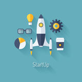 Product launch flat illustration. Flat design modern vector illustration concept of new business project startup development and launch a new innovation product Royalty Free Stock Photo