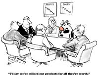 Product Life Cycle. Business cartoon showing a meeting and the cow is saying the company has milked all the products Royalty Free Stock Photos