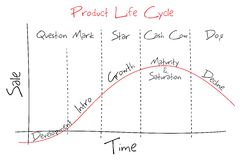 Product Lifecycle. Illustration of graph showing product lifecycle and BCG graph Royalty Free Stock Photos