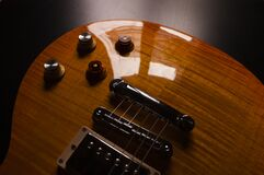 Product Photography of Brown Electric Guitar Royalty Free Stock Photography