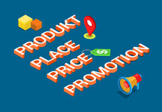 Product Place Price Promotion 4P marketing mix flat vector 3d Royalty Free Stock Photos