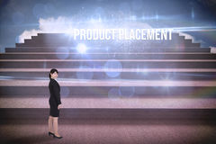 Product placement against steps against blue sky Royalty Free Stock Photos