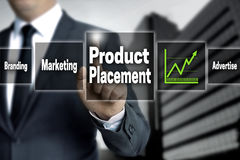 Product Placement touchscreen is operated by businessman.  Stock Image