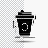 product, promo die, koffie, kop, merk Glyph-Pictogram op Transparante Achtergrond op de markt brengen Zwart pictogram royalty-vrije illustratie