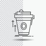 product, promo, koffie, kop, merk marketing Lijnpictogram op Transparante Achtergrond Zwarte pictogram vectorillustratie stock illustratie